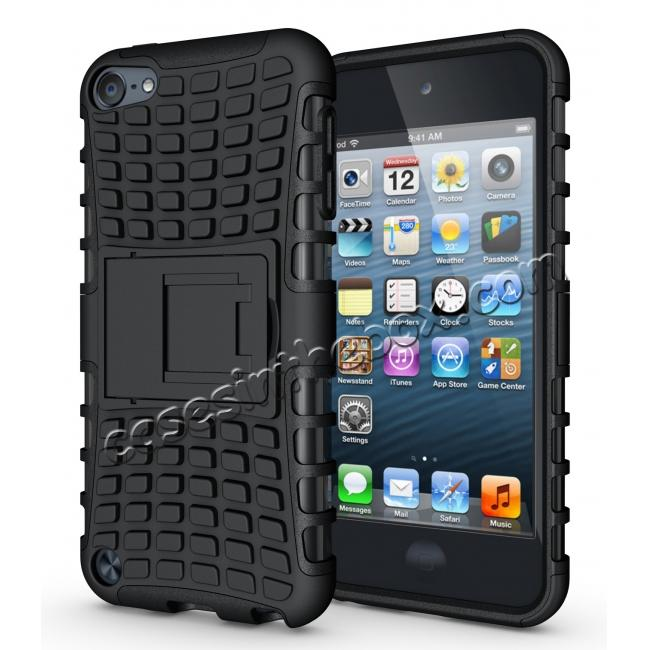 wholesale Armor Kickstand Hard & Soft Rubber Hybrid Case Cover For Apple iPod Touch 6th Gen - Black