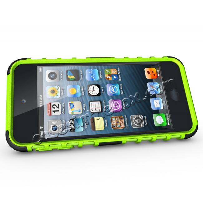 discount Armor Kickstand Hard & Soft Rubber Hybrid Case Cover For Apple iPod Touch 6th Gen - Green