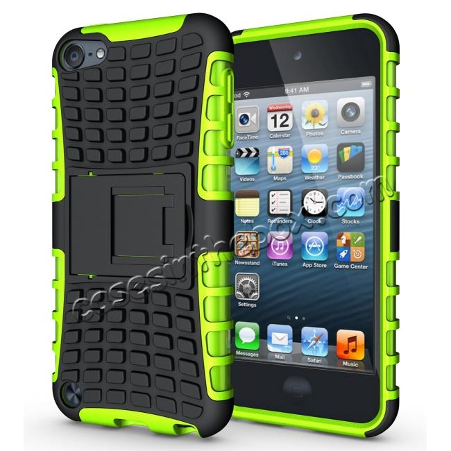 wholesale Armor Kickstand Hard & Soft Rubber Hybrid Case Cover For Apple iPod Touch 6th Gen - Green