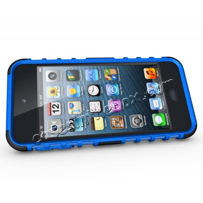discount Shockproof Dual Layer Hybrid Armor Kickstand Case For Apple iPod Touch 5th Gen - Blue