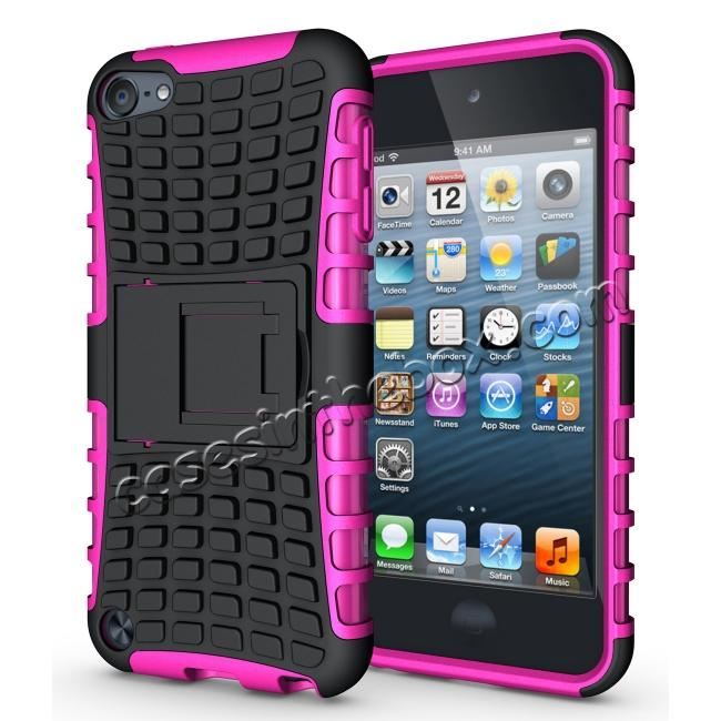 wholesale Shockproof Dual Layer Hybrid Armor Kickstand Case For Apple iPod Touch 5th Gen - Hot pink