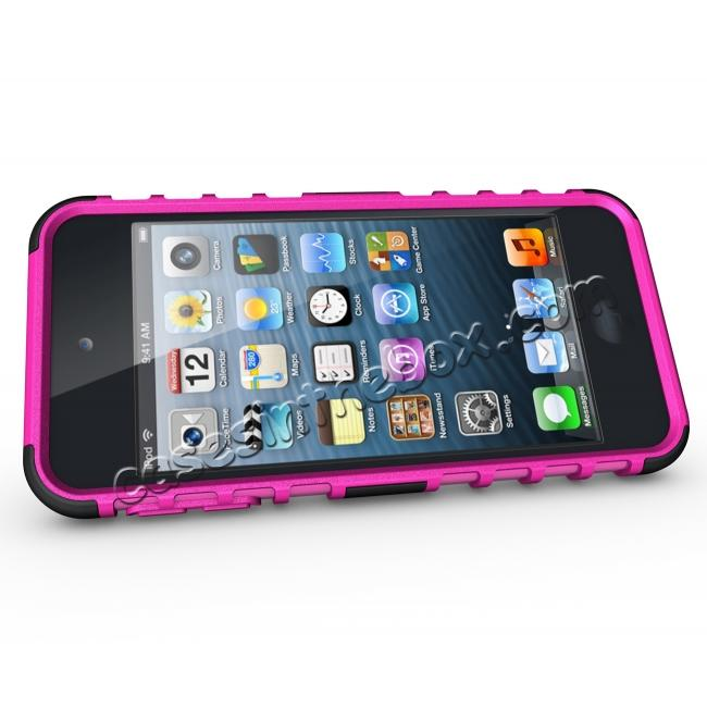 discount Shockproof Dual Layer Hybrid Armor Kickstand Case For Apple iPod Touch 5th Gen - Hot pink