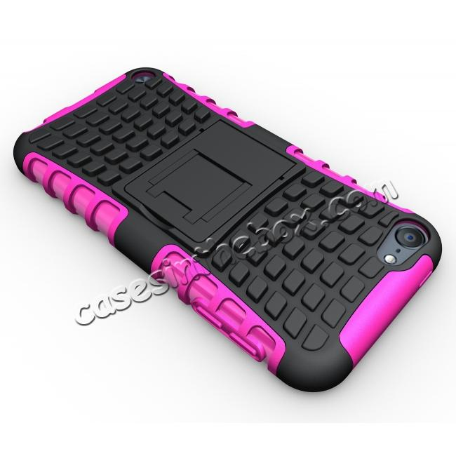 top quality Shockproof Dual Layer Hybrid Armor Kickstand Case For Apple iPod Touch 5th Gen - Hot pink