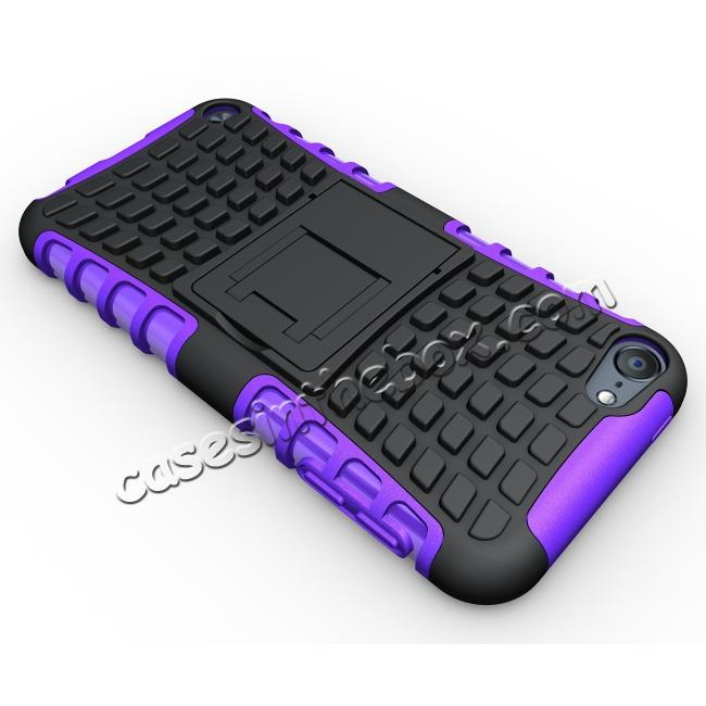top quality Shockproof Dual Layer Hybrid Armor Kickstand Case For Apple iPod Touch 5th Gen - Purple