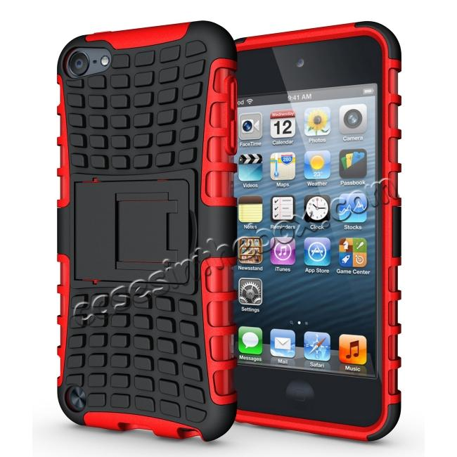 wholesale Shockproof Dual Layer Hybrid Armor Kickstand Case For Apple iPod Touch 5th Gen - Red