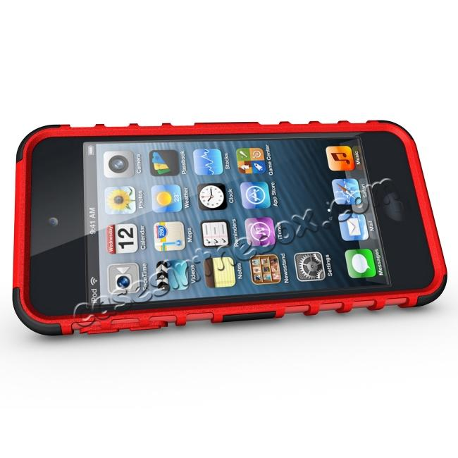 discount Shockproof Dual Layer Hybrid Armor Kickstand Case For Apple iPod Touch 5th Gen - Red