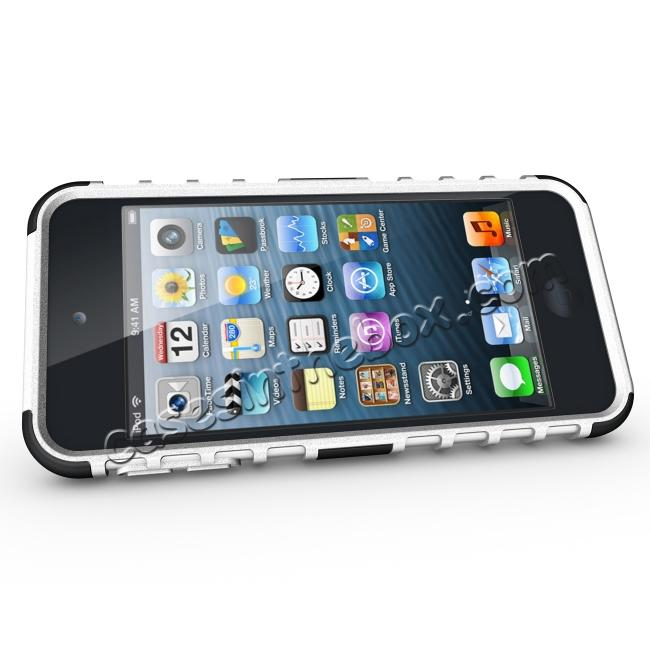 discount Shockproof Dual Layer Hybrid Armor Kickstand Case For Apple iPod Touch 5th Gen - White