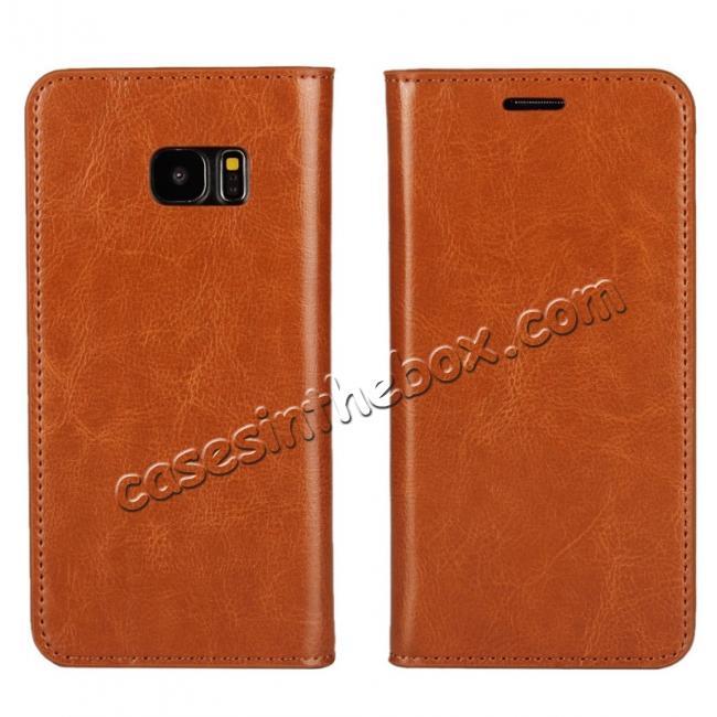 wholesale Crazy Horse Genuine Leather Flip Wallet Stand Case for Samsung Galaxy S7 Edge G935 with Card Slots - Brown