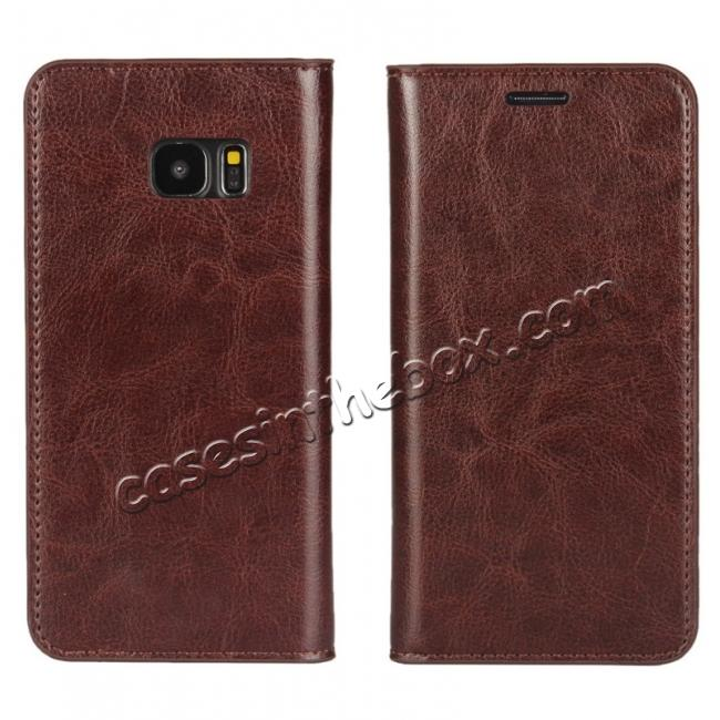 wholesale Crazy Horse Genuine Leather Flip Wallet Stand Case for Samsung Galaxy S7 Edge G935 with Card Slots - Coffee
