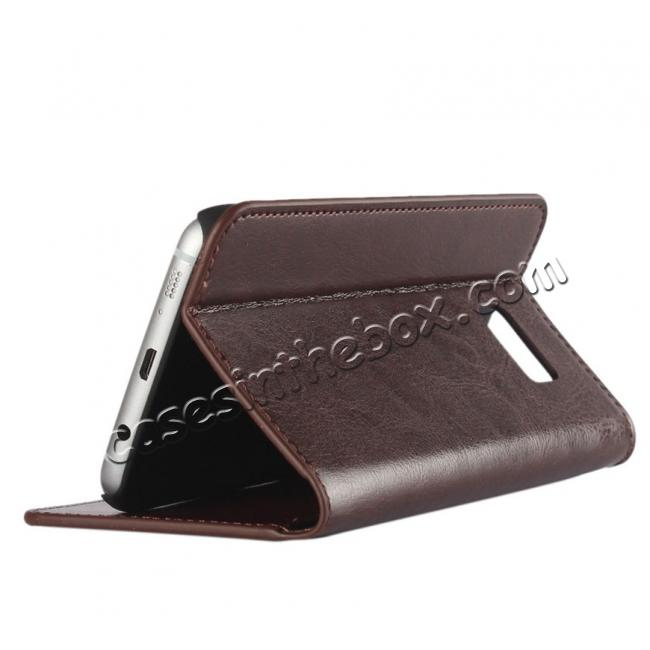 discount Crazy Horse Genuine Leather Flip Wallet Stand Case for Samsung Galaxy S7 Edge G935 with Card Slots - Coffee