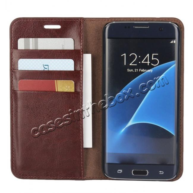 cheap Crazy Horse Genuine Leather Flip Wallet Stand Case for Samsung Galaxy S7 Edge G935 with Card Slots - Coffee