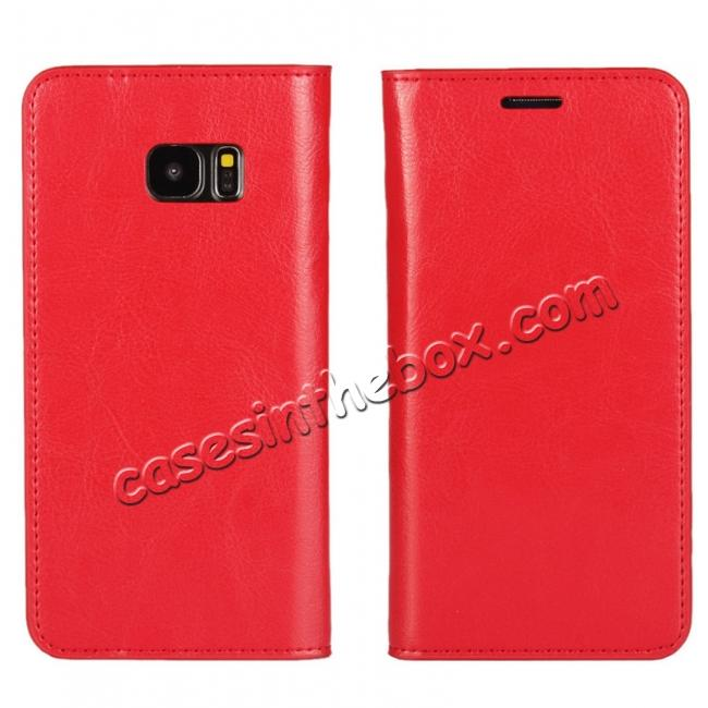wholesale Crazy Horse Genuine Leather Flip Wallet Stand Case for Samsung Galaxy S7 Edge G935 with Card Slots - Red