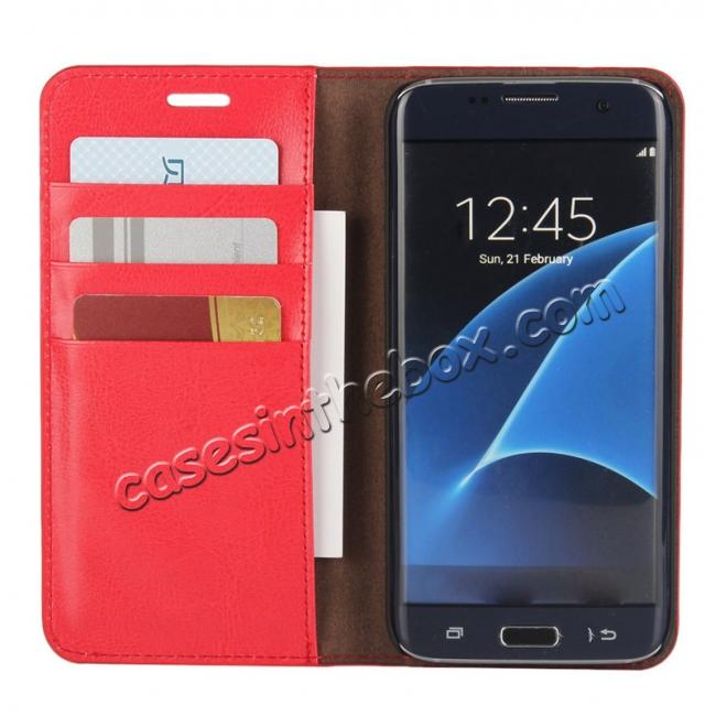 cheap Crazy Horse Genuine Leather Flip Wallet Stand Case for Samsung Galaxy S7 Edge G935 with Card Slots - Red