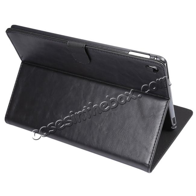wholesale Crazy Horse Grain Leather Stand Flip Case for 9.7-inch iPad Pro with Card Holder - Black