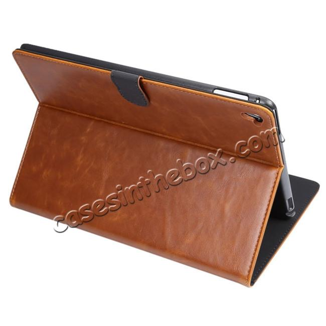 wholesale Crazy Horse Grain Leather Stand Flip Case for 9.7-inch iPad Pro with Card Holder - Brown