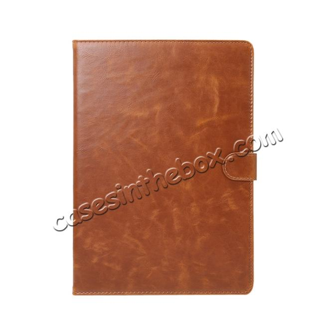 discount Crazy Horse Grain Leather Stand Flip Case for 9.7-inch iPad Pro with Card Holder - Brown