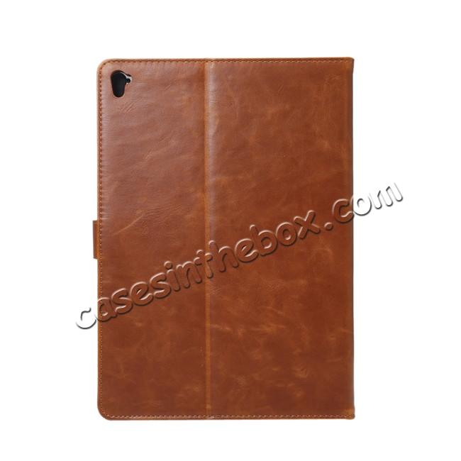 cheap Crazy Horse Grain Leather Stand Flip Case for 9.7-inch iPad Pro with Card Holder - Brown