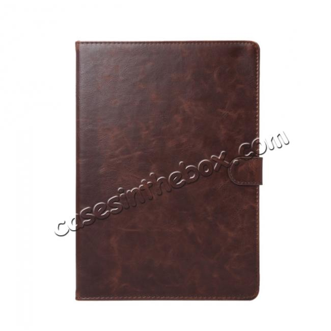 discount Crazy Horse Grain Leather Stand Flip Case for 9.7-inch iPad Pro with Card Holder - Coffee