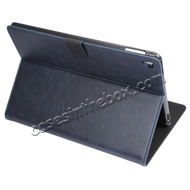wholesale Crazy Horse Grain Leather Stand Flip Case for 9.7-inch iPad Pro with Card Holder - Navy Blue