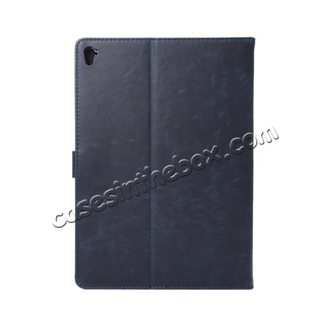 cheap Crazy Horse Grain Leather Stand Flip Case for 9.7-inch iPad Pro with Card Holder - Navy Blue