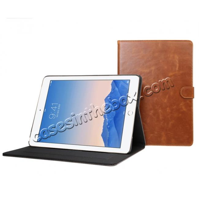 top quality Crazy Horse Grain Leather Stand Flip Case for 9.7-inch iPad Pro with Card Holder - Navy Blue
