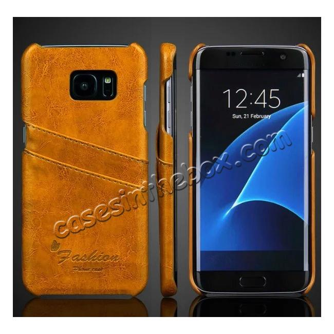 wholesale Fashion Oil Wax Grain PU Leather Back Cover Case With Card Slot for Samsung Galaxy S7 Edge - Yellow