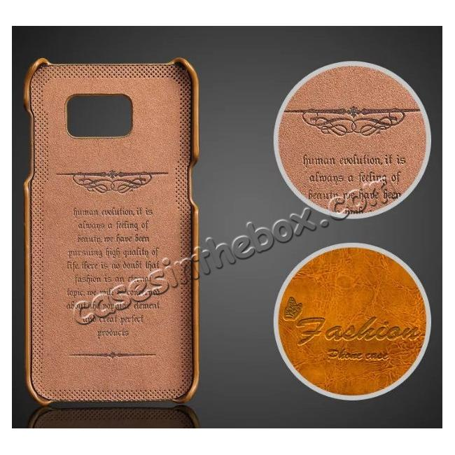 discount Fashion Oil Wax Grain PU Leather Back Cover Case With Card Slot for Samsung Galaxy S7 Edge - Yellow