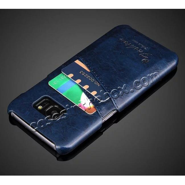cheap Fashion Oil Wax Grain PU Leather Back Cover Case With Card Slot for Samsung Galaxy S7 Edge - Dark Blue