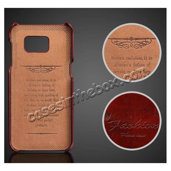 discount Fashion Oil Wax Grain PU Leather Back Cover Case With Card Slot for Samsung Galaxy S7 Edge - Dark Brown