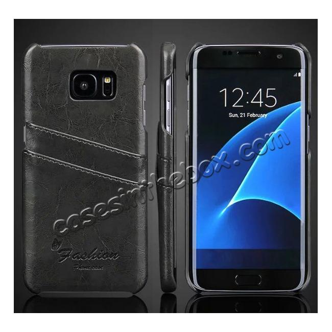 wholesale Fashion Oil Wax Grain PU Leather Back Cover Case With Card Slot for Samsung Galaxy S7 Edge - Dark Grey