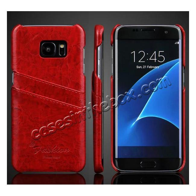 wholesale Fashion Oil Wax Grain PU Leather Back Cover Case With Card Slot for Samsung Galaxy S7 Edge - Red
