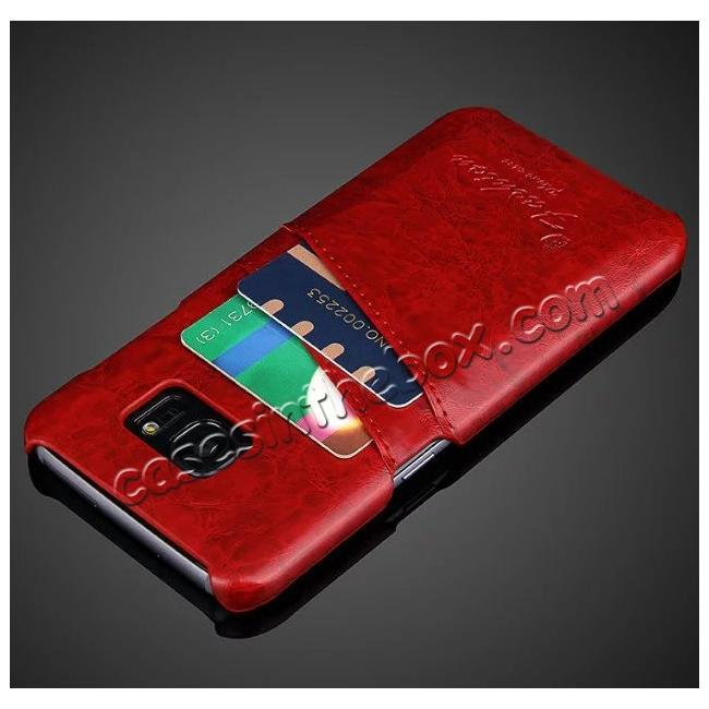 cheap Fashion Oil Wax Grain PU Leather Back Cover Case With Card Slot for Samsung Galaxy S7 Edge - Red