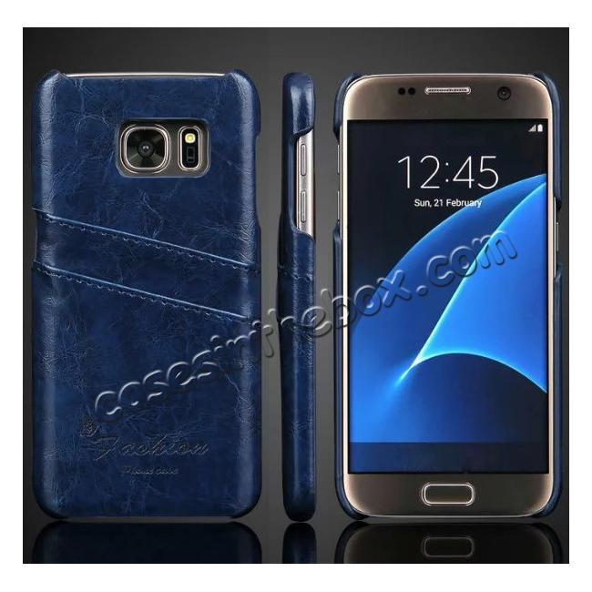 wholesale Oil Wax Leather Credit Card Holder Back Shell Case Cover for Samsung Galaxy S7 G930 - Dark Blue