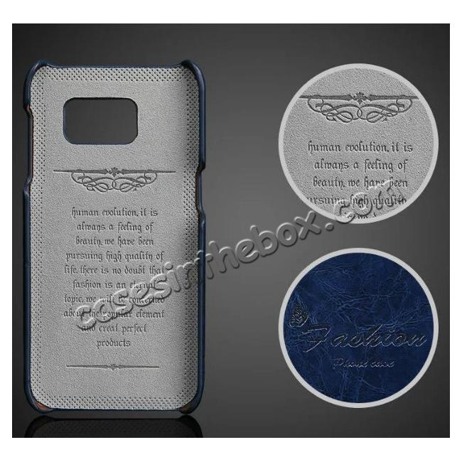 discount Oil Wax Leather Credit Card Holder Back Shell Case Cover for Samsung Galaxy S7 G930 - Dark Blue