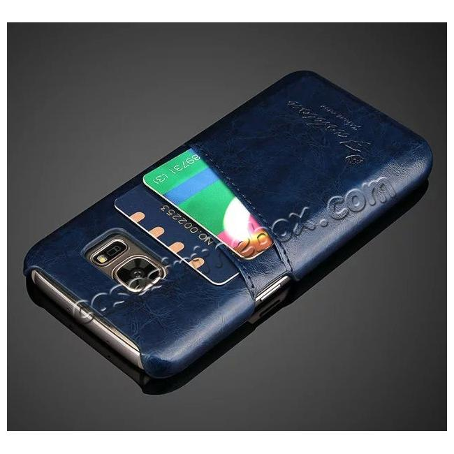cheap Oil Wax Leather Credit Card Holder Back Shell Case Cover for Samsung Galaxy S7 G930 - Dark Blue