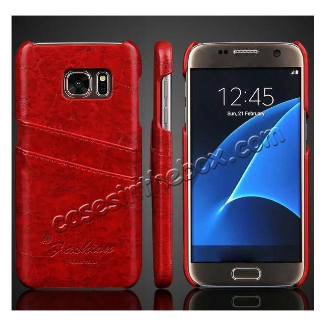 wholesale Oil Wax Leather Credit Card Holder Back Shell Case Cover for Samsung Galaxy S7 G930 - Red