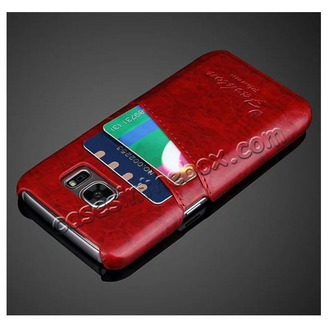cheap Oil Wax Leather Credit Card Holder Back Shell Case Cover for Samsung Galaxy S7 G930 - Red