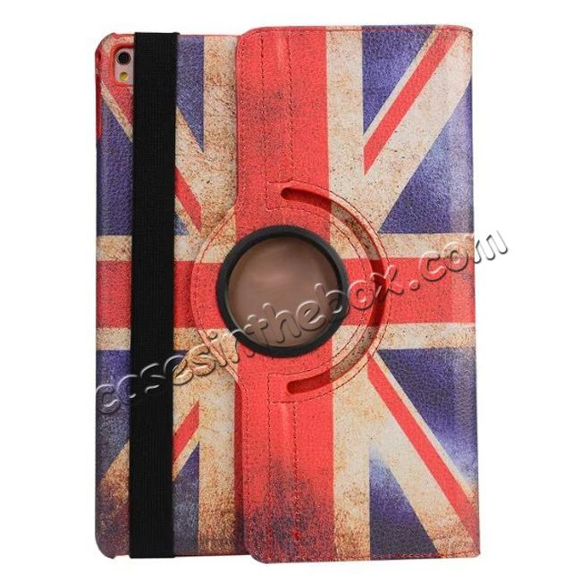 cheap 360 Degree Rotatary Retro UK Flag Pattern Leather Case for iPad Pro 9.7inch