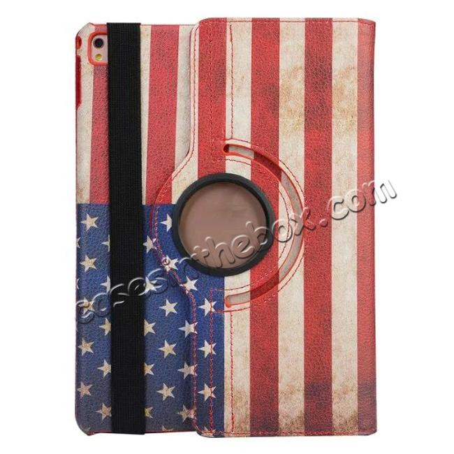 cheap 360 Degree Rotatary Retro USA Flag Pattern Leather Case for iPad Pro 9.7inch
