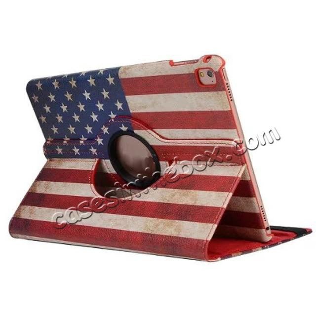 wholesale 360 Degree Rotatary Retro USA Flag Pattern Leather Case for iPad Pro 9.7inch