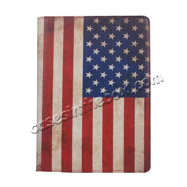 top quality 360 Degree Rotatary Retro USA Flag Pattern Leather Case for iPad Pro 9.7inch