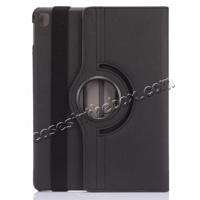 discount 360 Degree Rotating Folio Jeans Cloth Skin PU Leather Case for 9.7-inch iPad Pro - Black