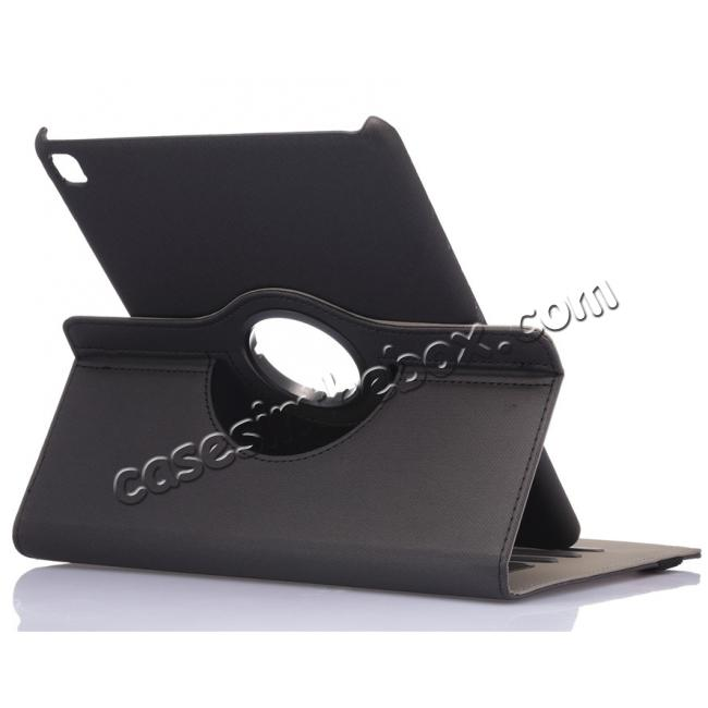 wholesale 360 Degree Rotating Folio Jeans Cloth Skin PU Leather Case for 9.7-inch iPad Pro - Black