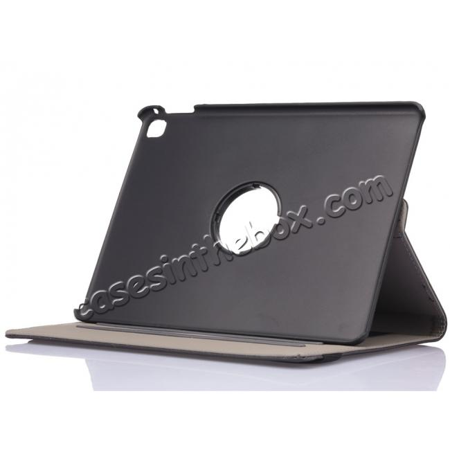 top quality 360 Degree Rotating Folio Jeans Cloth Skin PU Leather Case for 9.7-inch iPad Pro - Black