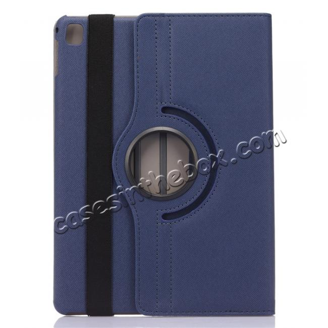 discount 360 Degree Rotating Folio Jeans Cloth Skin PU Leather Case for 9.7-inch iPad Pro - Dark Blue