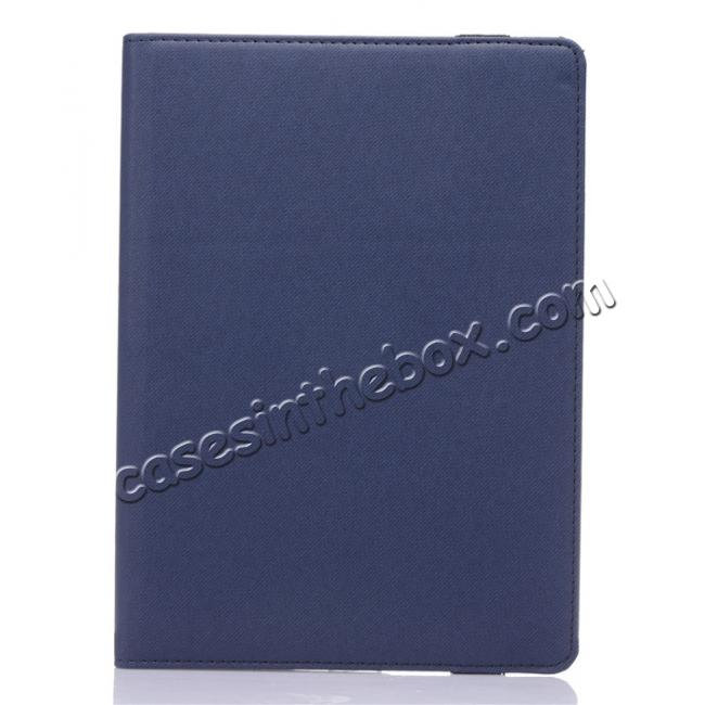 cheap 360 Degree Rotating Folio Jeans Cloth Skin PU Leather Case for 9.7-inch iPad Pro - Dark Blue