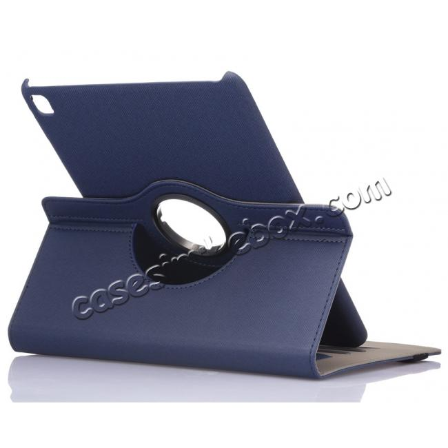 wholesale 360 Degree Rotating Folio Jeans Cloth Skin PU Leather Case for 9.7-inch iPad Pro - Dark Blue