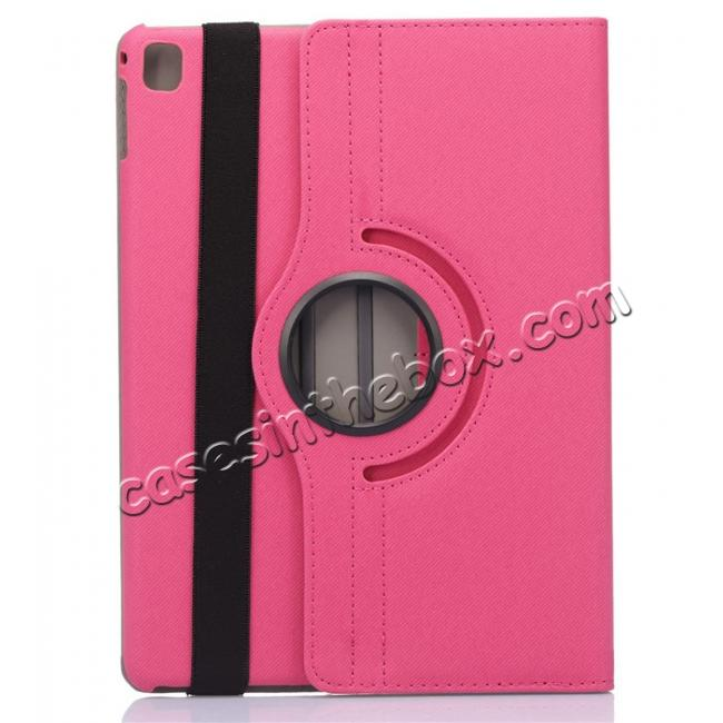 discount 360 Degree Rotating Folio Jeans Cloth Skin PU Leather Case for 9.7-inch iPad Pro - Hot Pink