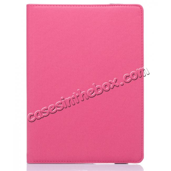 cheap 360 Degree Rotating Folio Jeans Cloth Skin PU Leather Case for 9.7-inch iPad Pro - Hot Pink