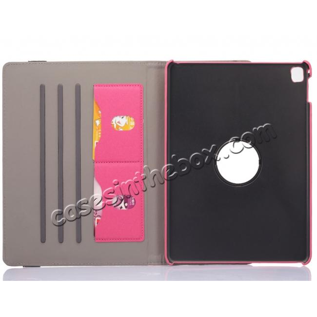 top quality 360 Degree Rotating Folio Jeans Cloth Skin PU Leather Case for 9.7-inch iPad Pro - Hot Pink
